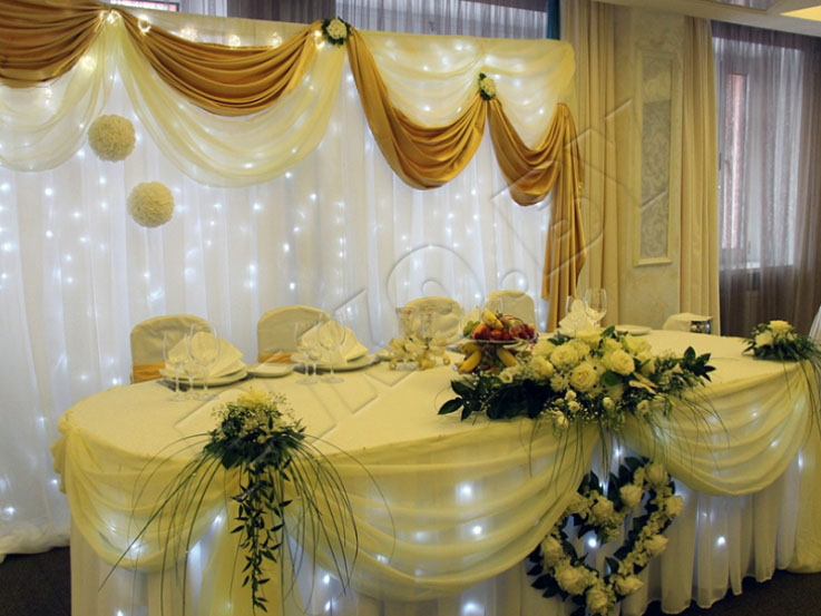 Оформление зала на свадьбу фото в золотом цвете